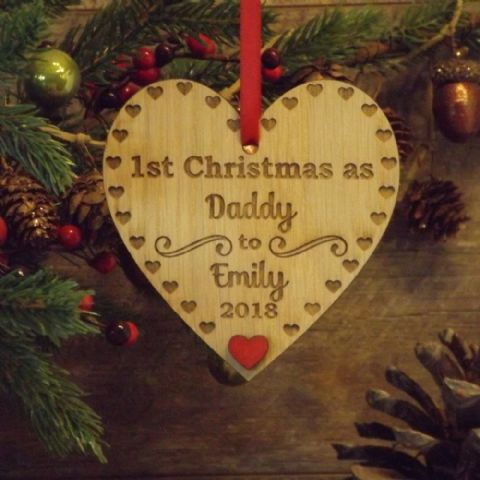 1st First Christmas as Daddy, Dad, Papa Personalised Heart Decoration Gift